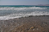 beautiful beach in Kos, Greece Turkey on the background