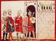 Frederick II of Hohenstaufen reaching an agreement with the Sultan of Jerusalem, miniature from the Chronicles of Giovanni Villani, manuscript, Italy,...