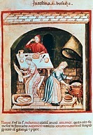 Preparing tripe, miniature from the Tacuinum Sanitatis (The Medieval Health Handbook), Italy 14th Century.  Rome, Biblioteca Casanatense (Library)