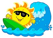 Surfing Sun on white background _ isolated illustration.