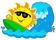 Surfing Sun on white background _ isolated illustration.