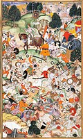 Akbar witnesses fighting amongst ascetics, miniature by Basawan from the Book of Akbar (Akbarnama), Mughal art, India 16th Century.  London, Victoria ...