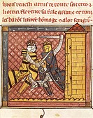 Fighting between the King and Emperor, miniature from King Arthur prose romance, France 14th Century