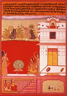 Musical scene in the courtyard of a building, miniature by Gujari Ragini from a Ragamala, India 18th Century.