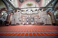 Suleymaniye Mosque Ottoman imperial mosque interior architecture in Istanbul, Turkey