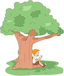 Illustration of a Kid Reading a Book at Camp_ eps8