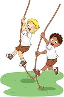 Illustration of Kids Holding on to Swinging Ropes_ eps8