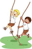 Illustration of Kids Holding on to Swinging Ropes_ eps8