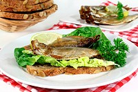 smoked sprats on a slice of bread