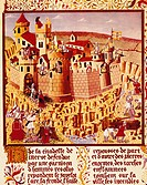 The crusade against the Albigensians, miniature, 13th Century.