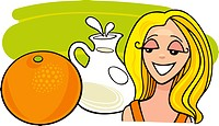 illustration of girl with orange fruit and milk