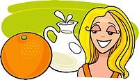 illustration of girl with orange fruit and milk