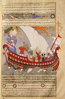 Noah's Ark, miniature from The tales of Luqman, Arabic manuscript, 1583.  Istanbul, Turk Ve Islam El Sanatiari Muzesi (Turkish And Islamic Art Museum)