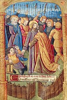 The Kiss of Judas, miniature from the Book of Hours (Use of Poitiers), Latin and French manuscript illustrated by a student of Robinet Testard, manusc...