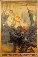 Poster celebrating day of African Army and of Colonial troops, by Charles Fouqueray 1869_1956, 1917