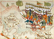The Turkish army conquering the fortress of Lemnos, miniature from Turkish Memories, Arabic manuscript, Cicogna Codex, Turkey 17th Century.  Venice, M...