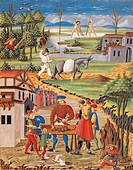 The trick with cups, work in the fields and fishing, miniature from De Sphaera by Leonardo Dati, Latin Manuscript folio 209 verso 12, 1470, Italy.  Mo...