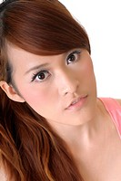 Beauty of Asian closeup portrait with beautiful eyes.