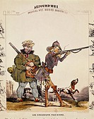 France, 19th century. Parisian hunters (Les chasseurs parisiens). Caricature by Henri Gerard-Fontallard, from Aujourd'hui: Journal des modes ridicules...