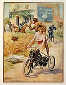 Posters, France, 20th century. Thumbing one's nose from the motor tricycle, advertisment for the Automobiles de Dion-Bouton, illustration by Wilhio, P...