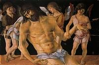 Pieta or Dead Christ Supported by Angels, ca 1474, by Giovanni Bellini (1431-36 - 1516), tempera on panel, 91x131 cm.  Rimini, Museo Della Città (Art ...