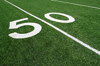 American Football Field Fifty Yard Line with new turf