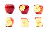Eating organic apple in six steps