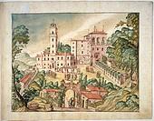 Italy, 15th century. Villa Imperiale on Monte San Bartolo above Pesaro.  Città Del Vaticano, Biblioteca Apostolica Vaticana (Vatican Library)