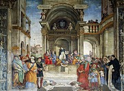Triumph of Saint Thomas Aquinas Over the Heretics, 1489-1492, by Filippino Lippi (1457 ca- 1504), fresco. The Basilica of Saint Mary Above Minerva, Ca...