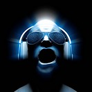 3D man with headphones and sunglasses with static in the lenses with glow and light streaks.