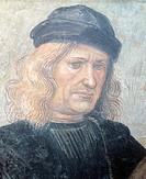 Self-portrait, by Luca Signorelli (ca 1445-1523), affresco.  Orvieto, Museo Dell'Opera Del Duomo (Art Museum)