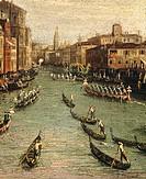 The Historical Regatta: Gondolas on the Grand Canal, from the School of Canaletto, 17th-18th Century.  Venice, Museo Correr (Art Museum)