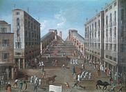 Running of the Bulls and wheelbarrow race at the Rialto, Venice, by Gabriel Bella (1730-1799). Oil on canvas, 93x122.5 cm.  Venice, Fondazione 'Querin...