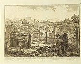 Giovanni Battista Piranesi (1720-1778). Rome, view of Campo Vaccino (Roman Forum) with the Arch of Septimius Severus on the left. Engraving.  Florence...