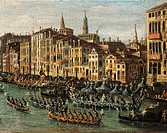 Regatta on the Grand Canal, from the School of Canaletto, 17th-18th Century.  Venice, Museo Correr (Art Museum)