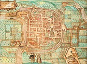 Map of Tridentum, today Trent, by Georg Braun and Franz Hogenberg, coloured engraving from Civitates Orbis Terrarum, Italy 16th Century.  Venice, Bibl...
