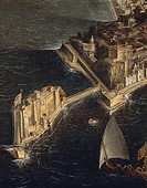 Francois Didier Nome or Didier Barra know as Monsu' Desiderio (1589-1624). A bird's eye view of Naples. Detail.  Naples, Museo Nazionale Di San Martin...