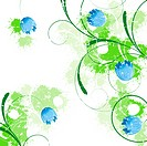 Spring blue background with flowers and swirls