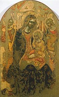 Madonna with Child, by an anonymous artist of the Syracuse School, 15th century.  Syracuse, Galleria Regionale Di Palazzo Bellomo (Picture Gallery)