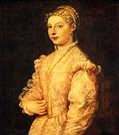 Portrait of Lavinia Vecellio or young woman, by Titian ca 1490_1576, oil on canvas, 84x73 cm, 1544_1545