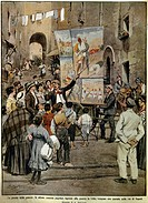 Achille Beltrame (1871-1945), The Domenica del Corriere (Italian Sunday newspaper) from 8th December 1910. Folk songs inspired by the war in Libya bei...