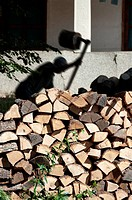 firewood and and silhouette of a lumberjack in action