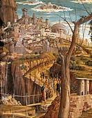 Agony in the Garden, 1457-1459, by Andrea Mantegna (1431-1506), tempera on wood, 71x94 cm. Detail view of Jerusalem.  Tours, Musée Des Beaux-Arts (Pic...