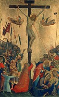 Crucifixion, panel from the Altarpiece of the Passion or Orsini polyptych, by Simone Martini (1284-1344), tempera and gold on wood panel, 29x21 cm.  A...