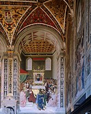 Stories of Pius II: Piccolomini elected Cardinal, by Bernardino Pinturicchio (ca 1452-1513). Piccolomini Library, Siena Cathedral.