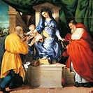 Enthroned Madonna and Child with Saints Giuseppe and Jerome, the central panel of the Altarpiece of San Francesco al Monte, ca 1525, by Lorenzo Lotto ...