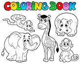 Coloring book with African animals _ thematic illustration.
