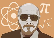 vector illustration of the physics teacher man