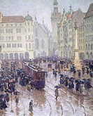Martienplatz in Munich in the winter of 1915, by Charles Wetter, Germany 20th Century  Monaco, Munchner Stadtmuseum (City Museum)