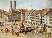 Marienplatz in Munich, by Stephan Joseph, Germany 19th Century.  Monaco, Munchner Stadtmuseum (City Museum)